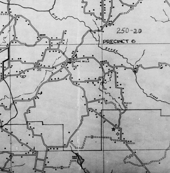 A 1940s-era map of the area.  New roads have been built, old roads have been abandoned, and many of the homesteads that appear on this map have totally disappeared