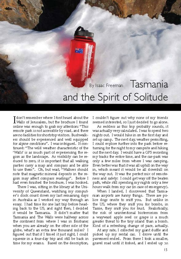Tasmania and the Spirit of Solitude | Excerpt from the Tufts Traveler | Isaac Freeman Tufts_Page_1