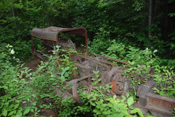 The remains of a gas-powered logging tractor used to pull cut logs from the forests into the river to be floated downstream to waiting mills.