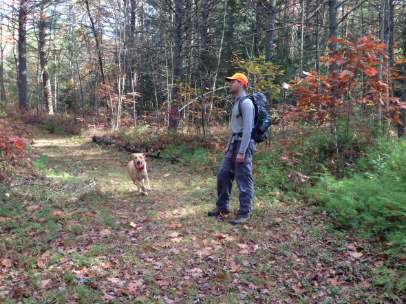 Hank and me hiking at Barre Falls near Hubbardston, MA.  It's a great feeling to see him having so much fun.  I'm very lucky that he sticks close by, even off leash.